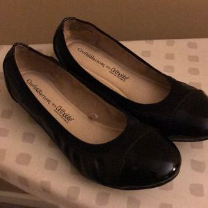 Black flats with patent leather toe